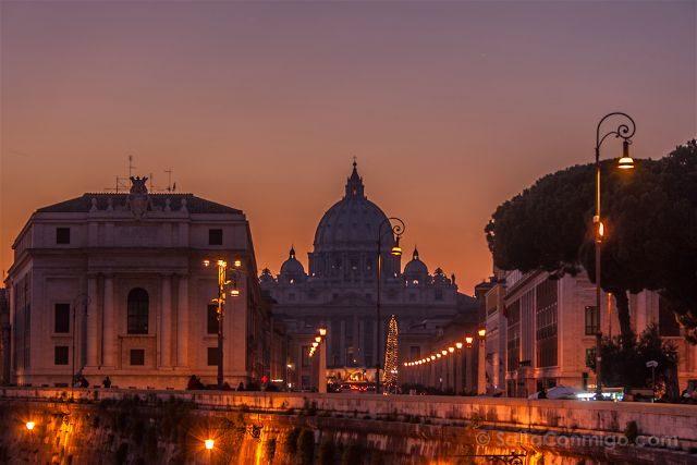 Italia Roma Puesta Sol San Pedro