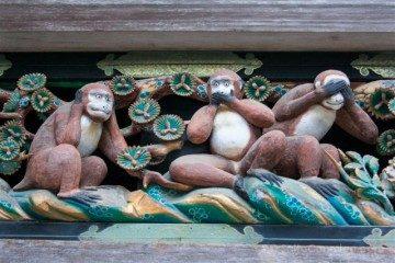 Japon Nikko Santuario Toshogu Tosho-gu Establos Sagrados Tres Monos Sabios