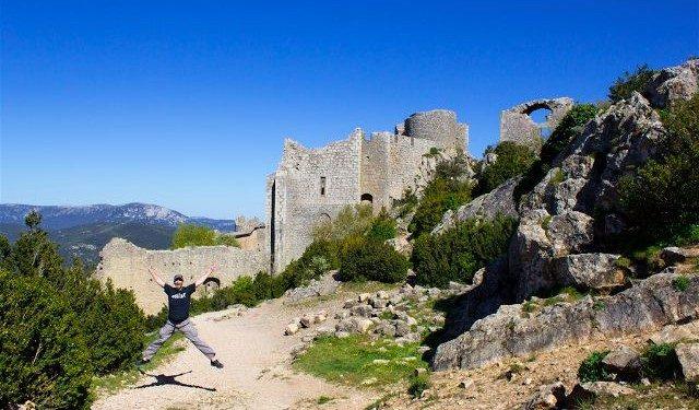 francia aude pais cataro castillo peyrepertuse recinto mediano salto