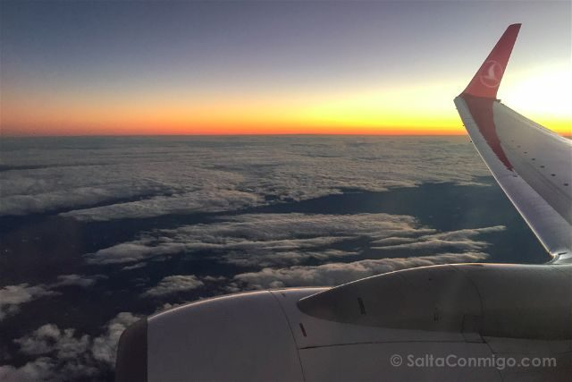 oman vuelo turkish airlines ala puesta sol