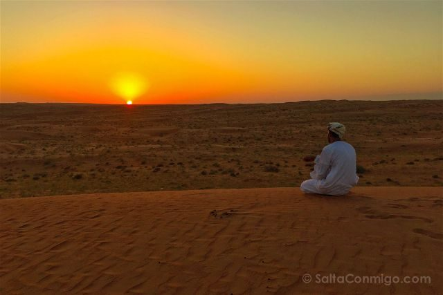 Oman Desierto Wahib Sands Ramlat Puesta Sol Ali