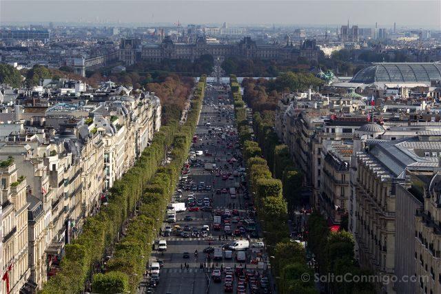 Francia Paris Monumentos Nacionales Arco Triunfo Vista Campos Eliseos