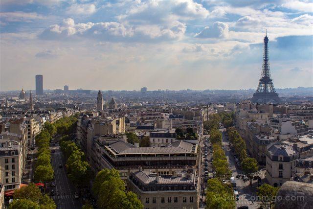 Francia Paris Monumentos Nacionales Arco Triunfo Vista Torre Eiffel