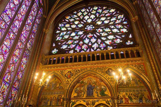 Francia Paris Monumentos Nacionales Capilla Sainte-Chapelle Superior Roseton