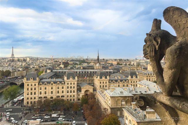 Francia Paris Monumentos Nacionales Torres Notre Dame Gargola