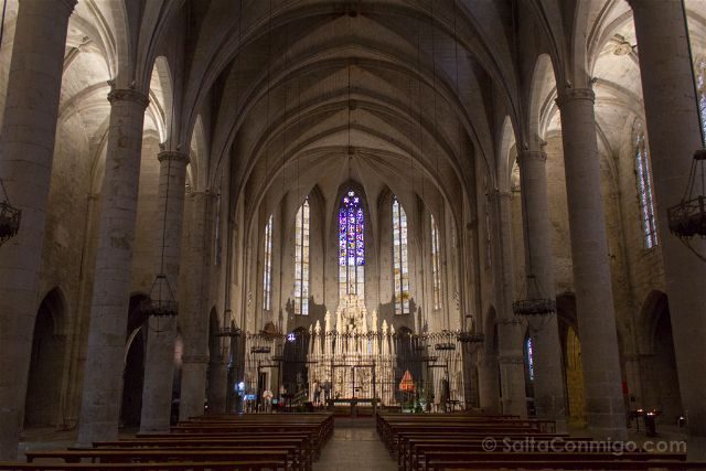 Girona Catedral Emporda Castello Empuries Interior Retablo Iluminado