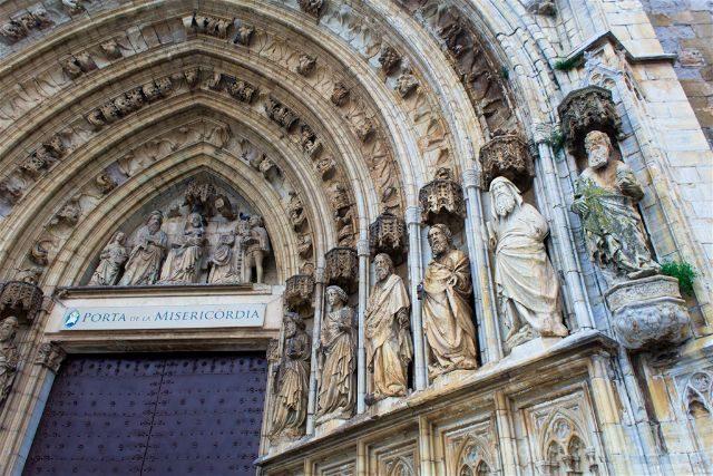 Girona Catedral Emporda Castello Empuries Portal Misericordia Detalle