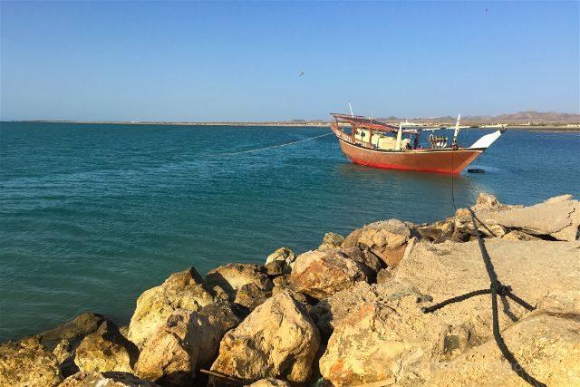 Oman Masira Dhow Amarrada Rocas