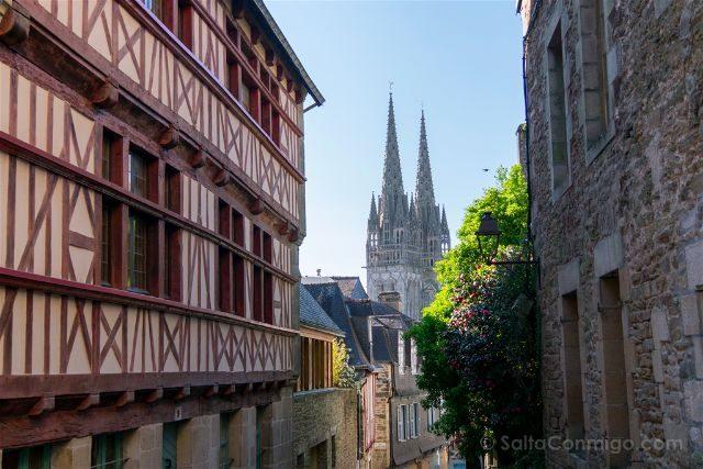 Francia Bretagne Quimper Calles Catedral