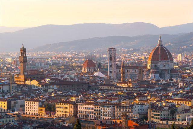 Italia Florencia Vista Detalle Piazzale Michelangelo Atardecer