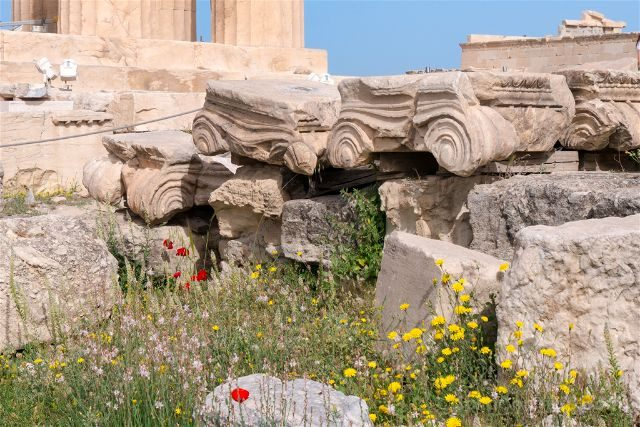 Grecia Atenas Acropolis Partenon Restos Suelo