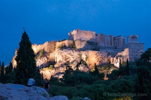 Grecia Atenas Acropolis Vista Monte Aeropagus Hora Azul