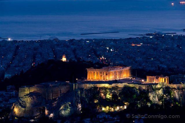 Grecia Atenas Acropolis Vista Monte Licabeto Hora Azul