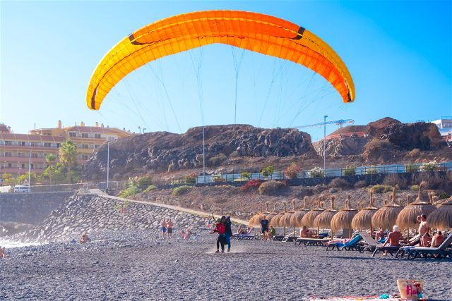 Islas Canarias Tenerife Parapente Aterrizaje Playa Guimar