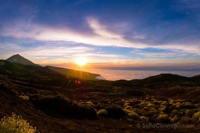 Islas Canarias Tenerife Tedie Puesta Sol Mar Nubes