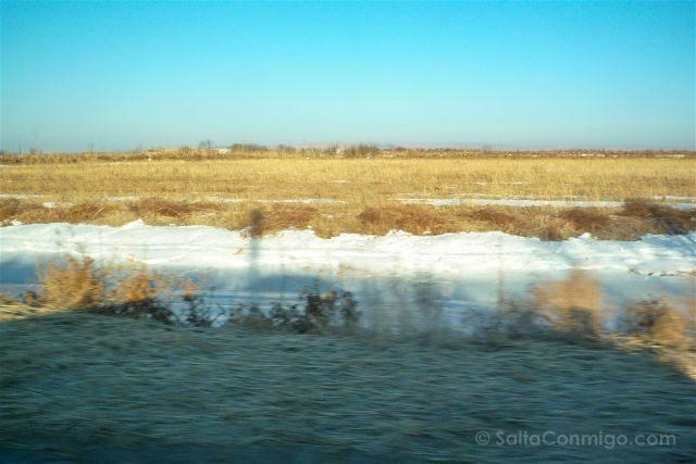 Uzbekistan Kyzyl Kum Desierto Carretera Nieve