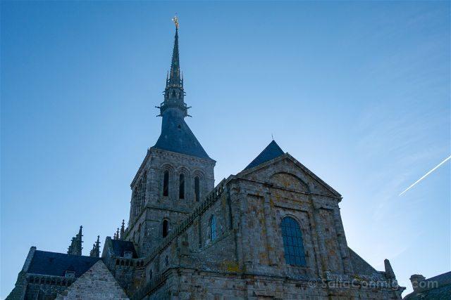 Francia Normandia Abadia Mont Saint-Michel Terraza Oeste Vista Iglesia