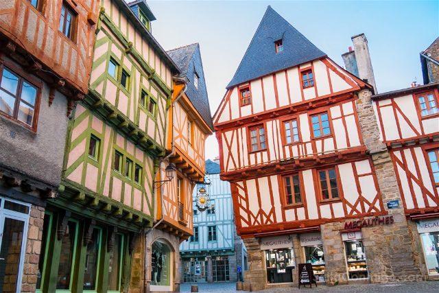 Francia Bretagne Vannes Casas Entramado Madera Plaza St Pierre