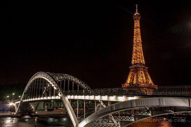 Francia Paris Vista Puente Torre Eiffel Nocturna
