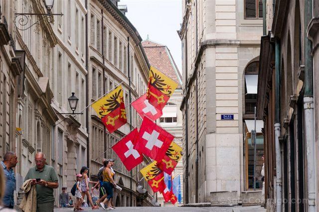 Suiza Ginebra Calles Banderas
