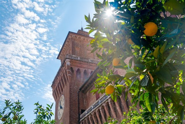 Italia Emilia-Romagna Ferrara Castello Estense Jardin Naranjos