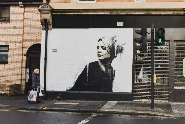 Glasgow City Centre Mural Trail Study Woman In Black James Klinge