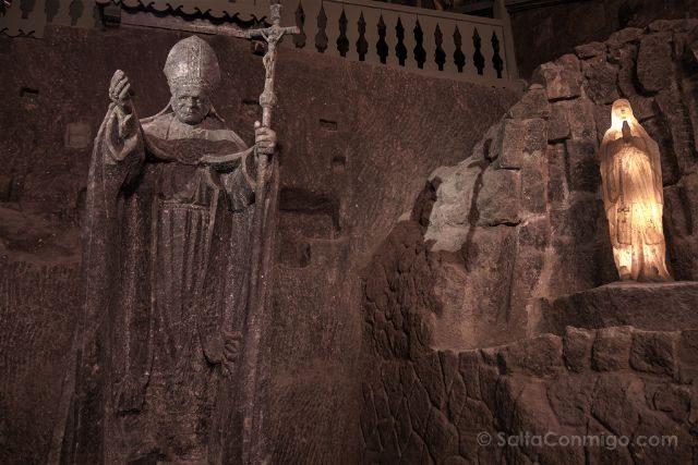 Polonia Mina Sal Wieliczka Capilla Santa Kinga Estatua Juan Pablo II
