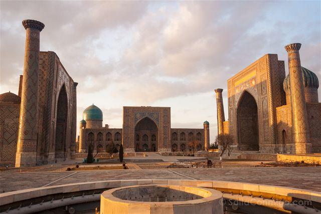 Uzbekistan Samarcanda Plaza Registan Atardecer