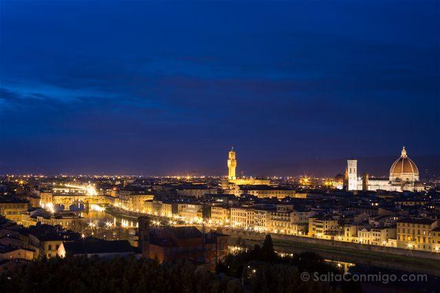 Italia Florencia Piazzale Michelangelo Vista Hora Azul