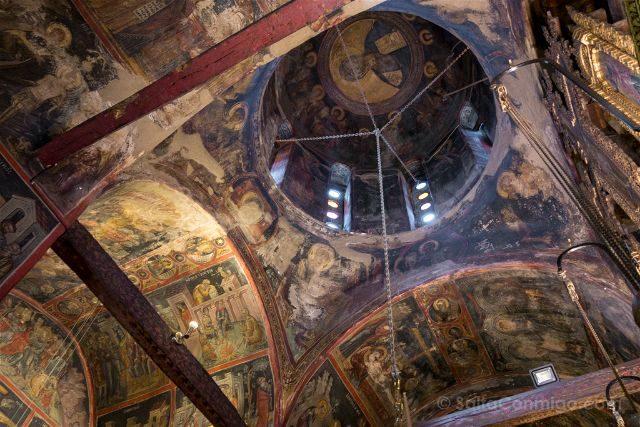 Grecia Meteora Roussanou Frescos Cupula