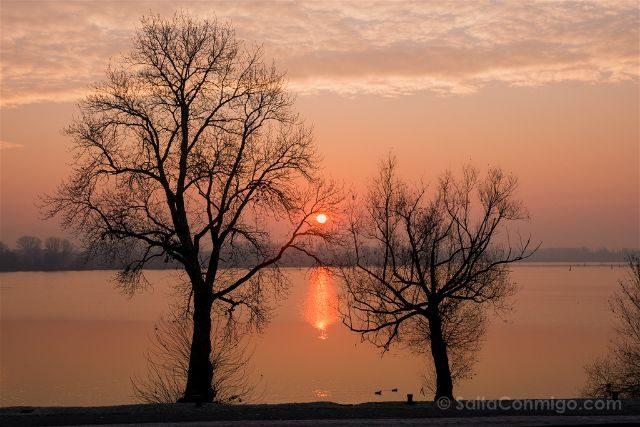 Italia Lombardia Mantua Lago Amanecer