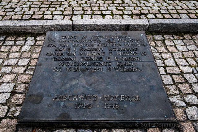 Polonia Cracovia Auschwitz Birkenau Placa Italiano
