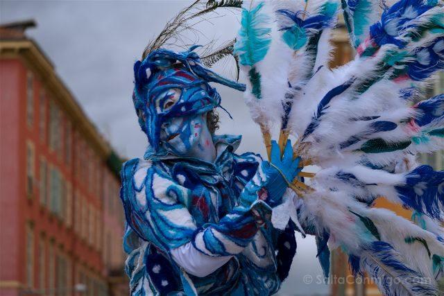 Francia Niza Carnaval Batalla Flores Acrobata Pajaro