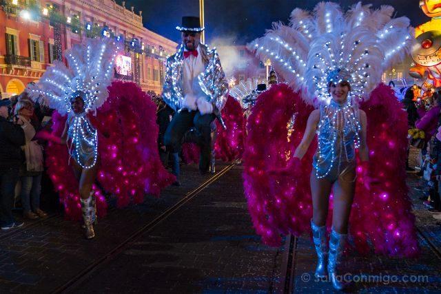 Francia Niza Carnaval Festival Luces Bailarines