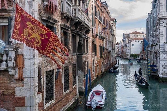Italia Venecia Canales Bandera Gondola