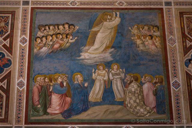 Italia Veneto Padua Giotto Cappella Scrovegni Detalle Ascension
