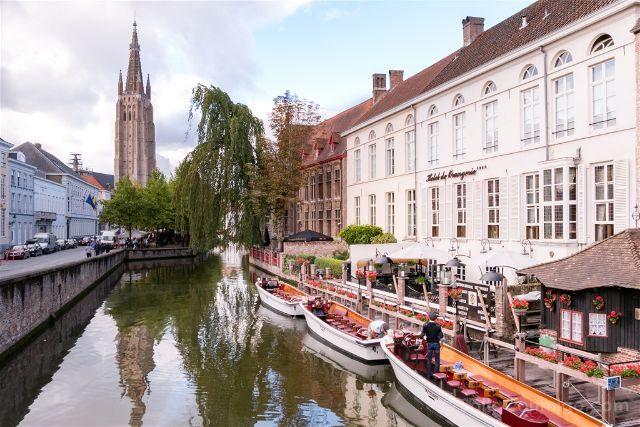 Fotos de Brujas Bélgica Dijver Desde Puente Wollestraat