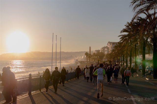 Francia Niza Promenade das Anglais Atardecer