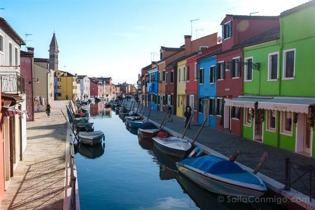 Venecia Burano Canal Casas Colores