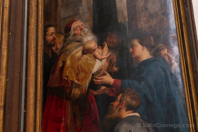 Belgica Flandes Amberes Catedral Descendimiento Cruz Rubens Detalle Rockox