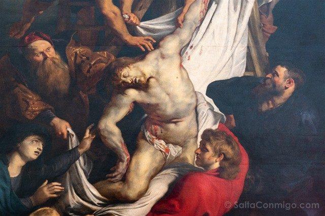 Belgica Flandes Amberes Catedral Descendimiento Cruz Rubens Detalle