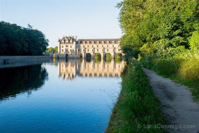 Castillo De Chenonceau Valle Del Loira Vista Camino Mirador