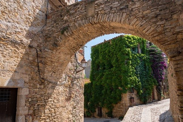 Peratallada Girona Carrer Vas Arco Hiedra Tarde