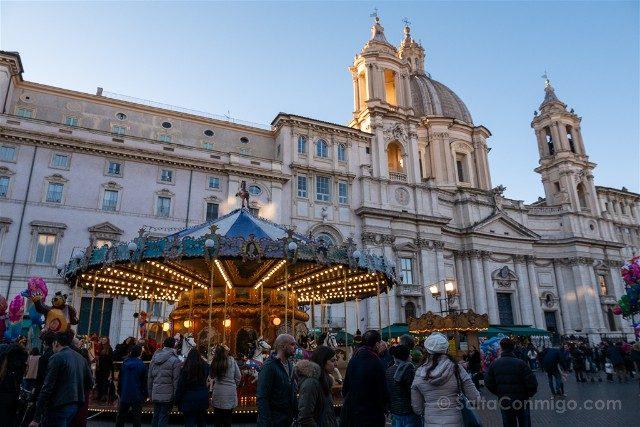 Que ver en Roma en Navidad Piazza Navona Tiovivo