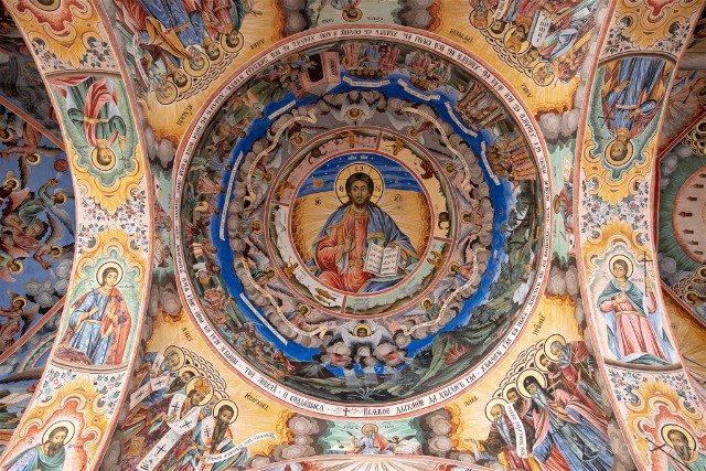 Monasterio de Rila Iglesia Natividad Virgen Frescos Exterior