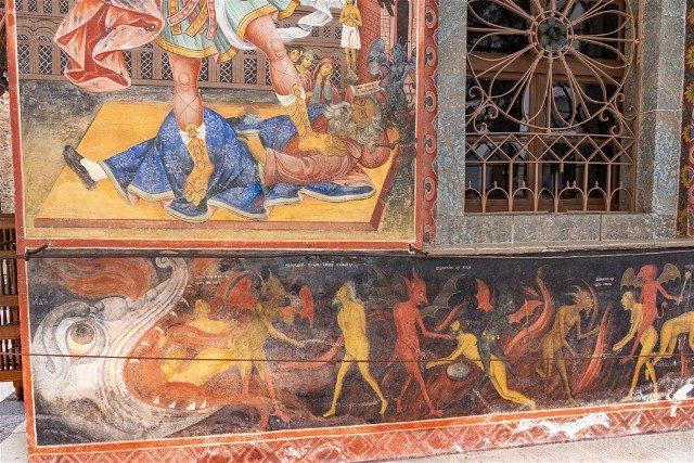 Monasterio de Rila Iglesia Natividad Virgen Frescos Infierno