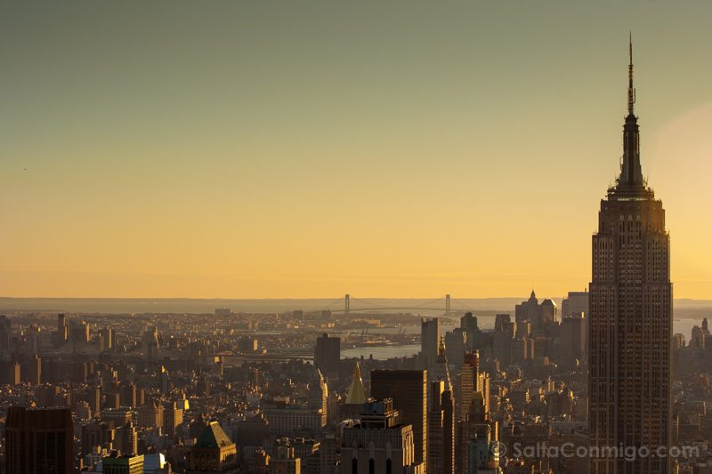 Nueva York Rockefeller Center Atardecer Empire State Building