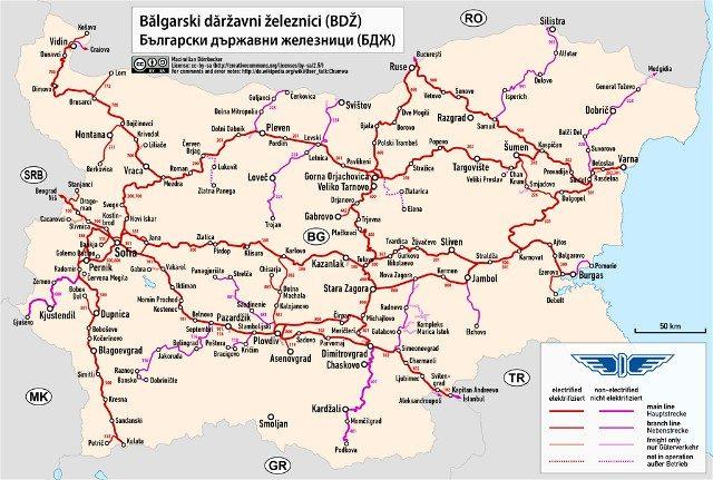 Mapa tren Bulgaria