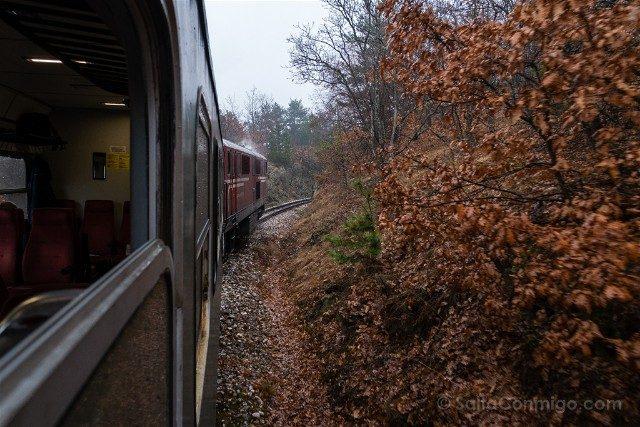 Viajar a Bulgaria Tren Bansko Rojos