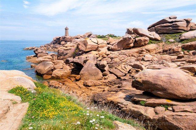Costa de Granito Rosa Bretana Ploumanac'h Sentier Douaniers Faro Vista